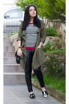 romwe coat - OASAP bag - OASAP flats - Sheinside top