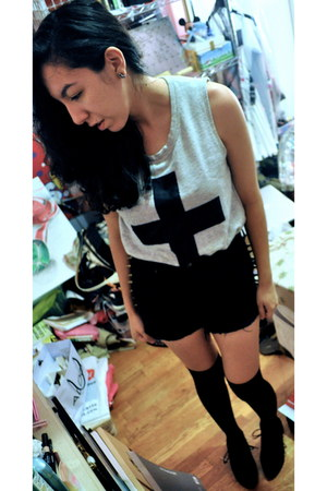 black spiked sides Forever 21 shorts - black knee high socks socks