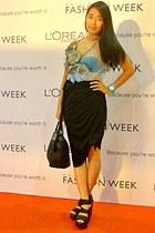black plantes longchamp bag - white sheer JP Singson top dress