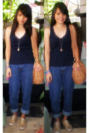 blue Chicos top - blue Guess jeans - brown Keds shoes - brown Charles & Keith ac