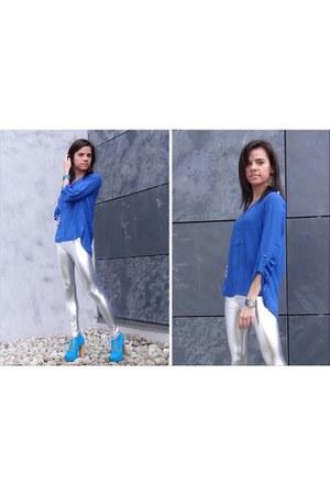blue deezee boots - silver OASAP leggings - blue OASAP blouse