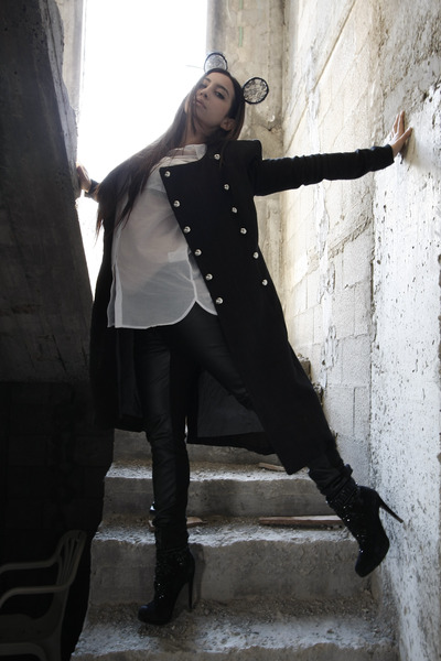 black Perfectism coat - black Luxury Rebel boots - white H&M blouse