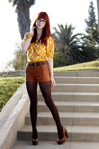 tawny leather shorts lucca couture shorts - mustard circles blouse H&M blouse