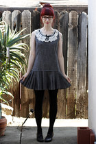 charcoal gray vintage dress - black oxford pump Chelsea Crew pumps
