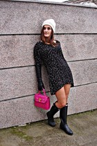 Zara dress - Hunter boots - Zara hat - BLANCO bag - Zara gloves
