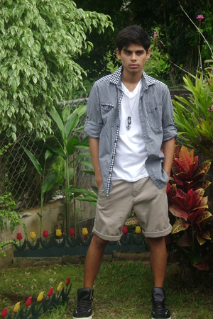 DKNY shirt - calvin klein shirt - volcom shorts - Converse shoes