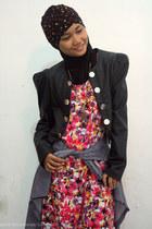 bubble gum floral dress - black leather-leopard blazer