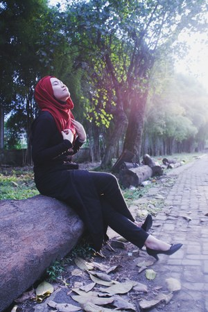 black tailored dress - red unbranded scarf - silver Payless earrings