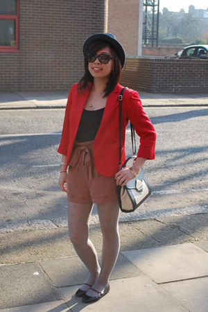 Sinequanone hat - Topshop blazer - pretty-small-shoes tights - Topshop shorts -