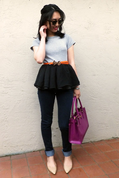 H&amp;M skirt - Joes Jeans jeans - Salvatore Ferragamo bag - Jimmy Choo flats