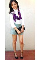 vintage scarf - Ralph Lauren shirt - Marc Jacobs bag - Theory shorts