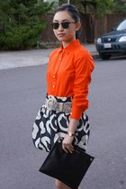 Salvatore Ferragamo bag - JCrew shirt - See by Chloe skirt - Jimmy Choo flats