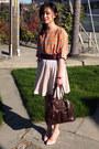 BCBG top - dooney & burke bag - H&M skirt - Gap belt - Fioni heels