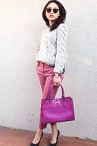 JCrew pants - Rebecca Taylor sweater - Salvatore Ferragamo bag
