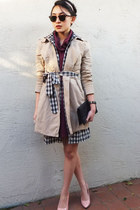 maroon from Macau label unknown dress - black Forever 21 dress - camel H&M coat