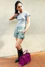 Ralph Lauren boots - Salvatore Ferragamo bag - Theory shorts