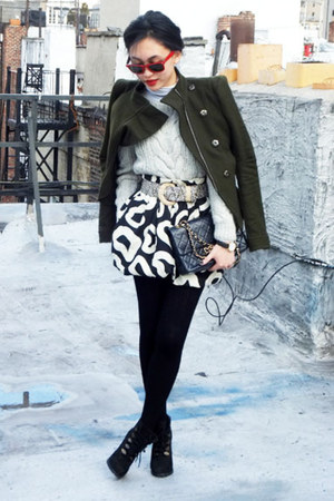 See by Chloe skirt - BCBGMAXAZRIA coat - Rebecca Taylor sweater - Chanel bag