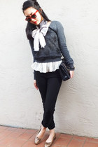 vera wang scarf - BCBGeneration sweater - Chanel bag - stuart weitzman flats