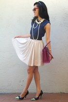 DIY heels - Zara dress - Salvatore Ferragamo bag - H&M skirt