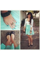 green and white dress - Louis Vuitton bag - pull&bear bracelet - Aldo flats