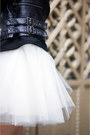 Brick-red-h-ampm-dress-black-jacket-off-white-tulle-mini-space46-skirt