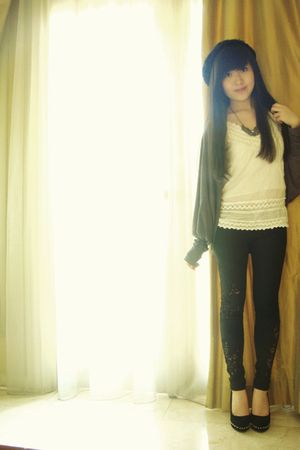 Zara tights - Clothes & Things cardigan - Steve Madden shoes - Forever 21 hat