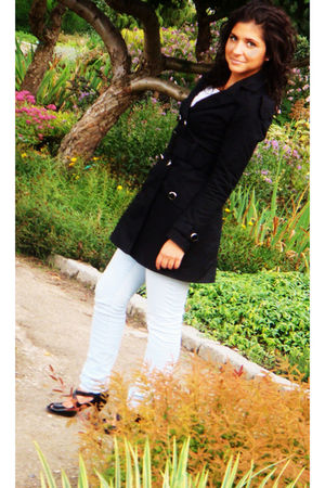 black Jane Norman coat - white Topshop top - blue Vila jeans - black Bianco shoe
