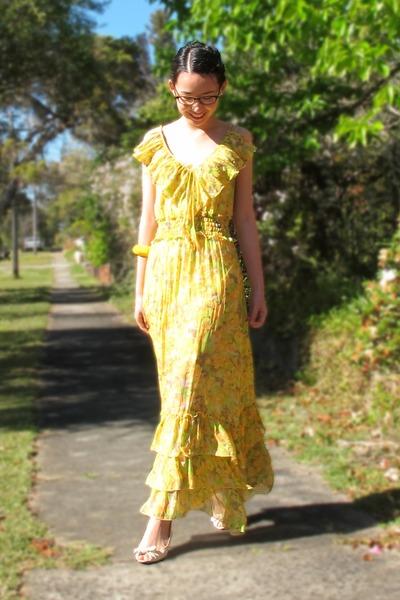 yellow floral Bettina Liano dress - chunky diva bracelet