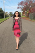 tweed no 5 UniQUEEN jacket - striped Marcs dress - black Wittner heels