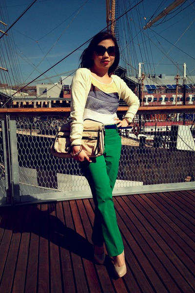 green Worthington pants - nude Aldo shoes - eggshell Badgley Mischka bag