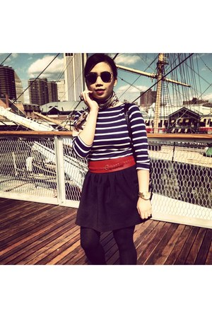 navy striped  shirt Zara shirt - ruby red H&M belt - black H&M skirt
