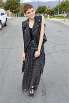 black maxi dress Mason Jules dress - black plaid shirt