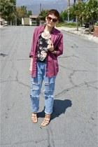 ce4ef78b2236a1 black floral camisole Forever 21 top - light blue Wrangler jeans