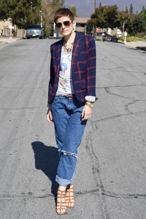 navy blazer Blazer blazer - boyfriend jeans Wrangler jeans
