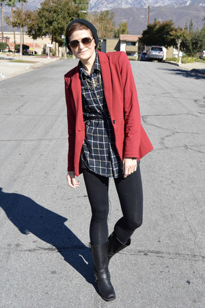 brick red blazer Target blazer - black black boots Frye boots