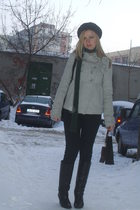 black Zara boots - gray Zara coat - black pull&bear pants - green timeout scarf 
