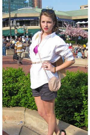 white vintage blouse - pink Forever 21 bra - gray Target shorts - pink JCrew bel