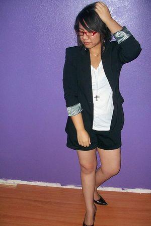 black Forever 21 blazer - white Forever 21 t-shirt - black Forever 21 shorts - s