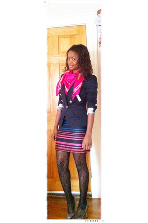 H&M dress - navy H&M blazer - hot pink H&M scarf