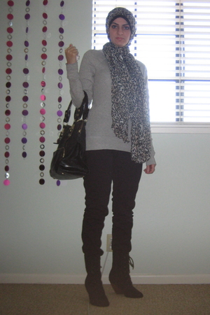 H&M scarf - Old Navy top - Urban Outfitters boots - f21 purse