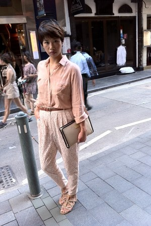 woven clutch Bruuns Bazaar bag - Topshop blouse - H&M pants - Zara sandals