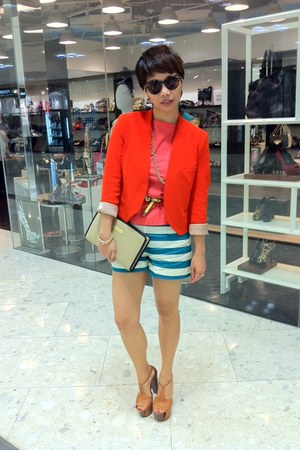 orange Zara jacket - linen clutch Bruuns Bazaar bag - stripes H&M shorts - platf