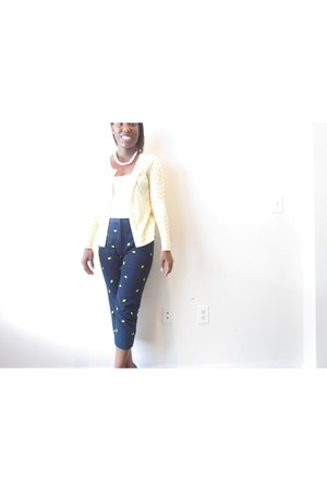 yellow yellow Thrift Store cardigan - white cami Forever 21 shirt