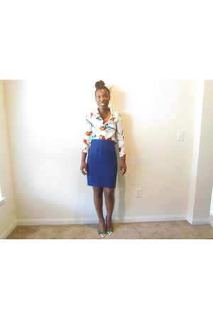 blue blue thrifted skirt - button down romwe shirt - green cap Target heels