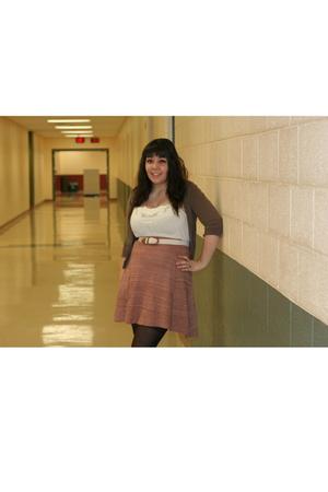 pink skirt - brown tights - white shirt - brown cardigan - white belt
