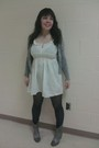 White-dress-gray-boots-black-tights-gray-cardigan