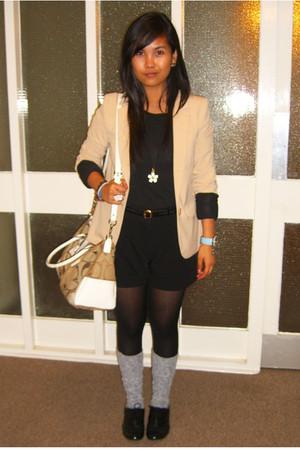 neutral H&M blazer - heather gray Topshop socks - nude coach bag - off white Mar