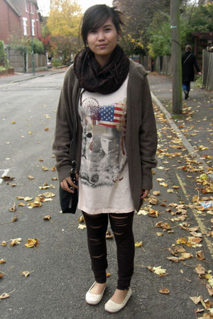 light brown Dorothy Perkins cardigan - dark brown abercrombie and fitch leggings