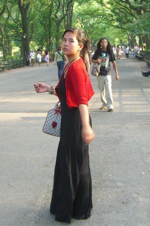 red Zara cardigan - black dress - Gucci