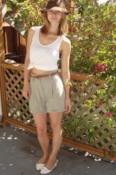 American Apparel top - thrifted hat - Top Shop belt - thrifted shorts - Miu Miu 